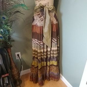 Soft Surroundings Patchwork Tiered Maxi skirt